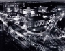 The combination of Christmas decorations and auto headlights make for a beautiful time-lapsed arial shot over Quincy Center. Dec 24, 1996 Photo by Fred Field